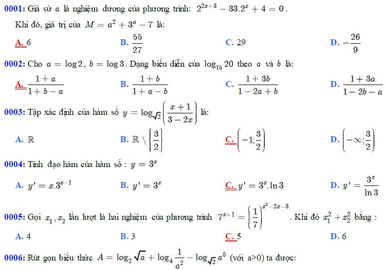 81 câu trắc nghiệm giải tích 12 chương 2 - Hàm số Mũ - Logarit