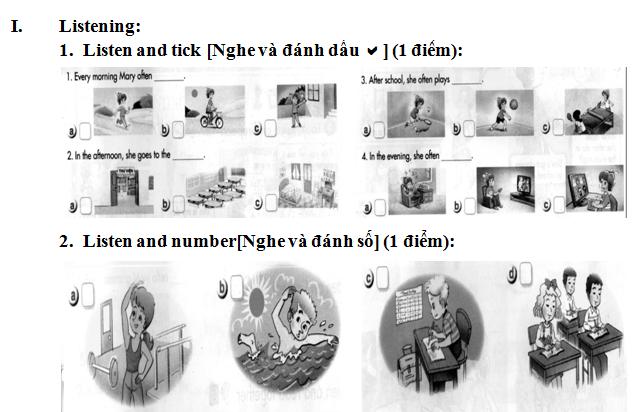 Đề thi học kì 1 lớp 5 môn tiếng Anh tiểu học Phú Cần A 2015