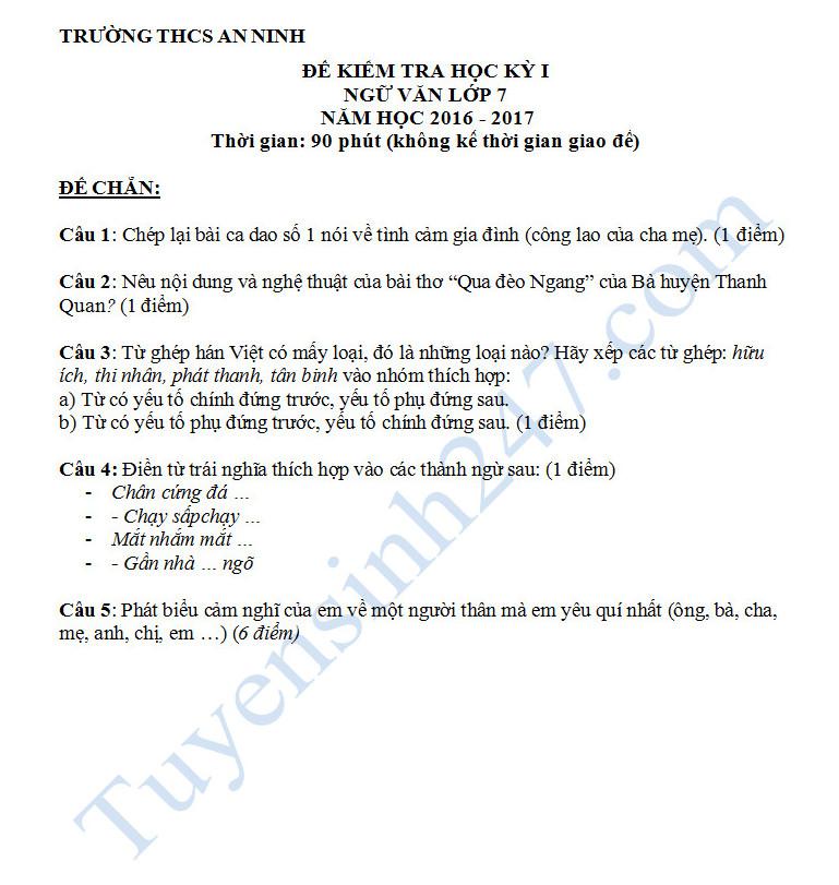 Đề thi học kì 1 môn Ngữ văn 7 của trường THCS An Ninh năm 2016