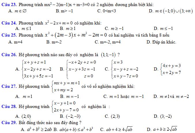 Đề ôn tập Hk1 môn Toán lớp 10 ( trắc nghiệm 50 câu)