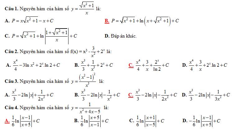 Trắc nghiệm nguyên hàm - có đáp án (cực hot)