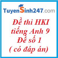Đề thi HKI tiếng Anh 9 - Đề số 1 ( có đáp án)