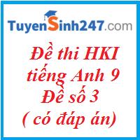Đề thi HKI tiếng Anh 9 - đề số 3 ( có đáp án)