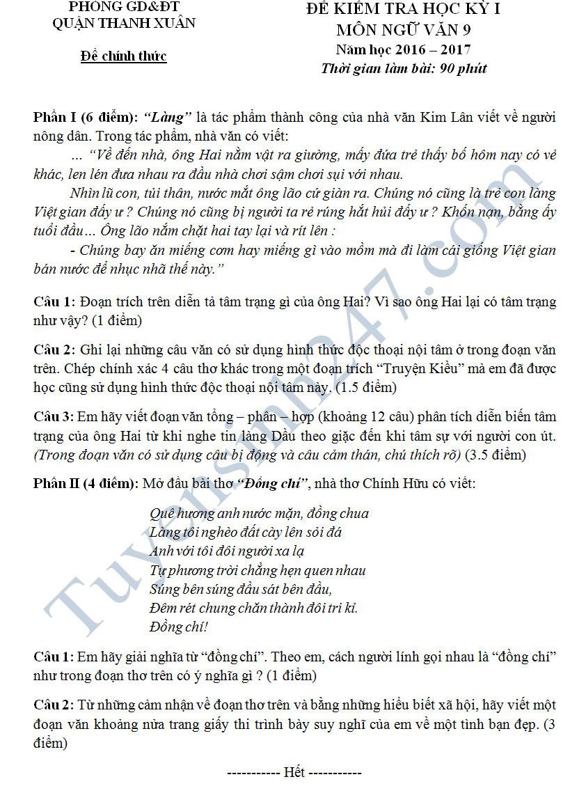 Đề thi học kì 1 môn Văn 9 - Quận Thanh Xuân năm 2016-2017 có đáp án