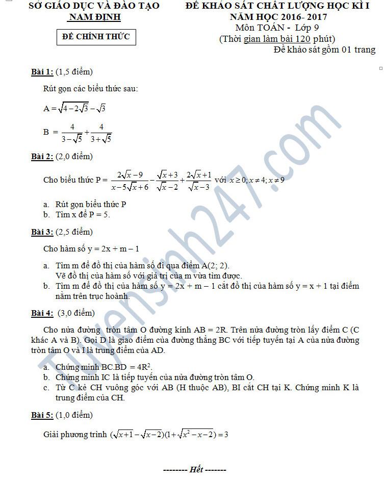 Đáp án và đề thi học kì 1 môn Toán 9 - Sở GD&ĐT Nam Định năm 2016-2017