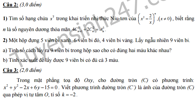 Đề thi học kì 1 lớp 11 môn Toán - THPT Chuyên Nguyễn Huệ - Hà Nội 2016 -2017