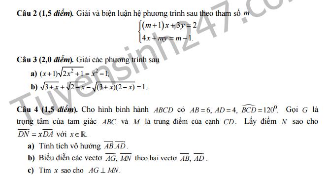 Đề thi học kì 1 lớp 10 môn Toán ( Ban A) - THPT Chu Văn An - Hà Nội 2016 -2017