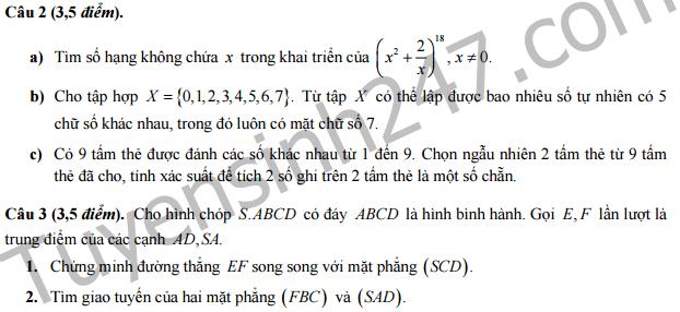 Đề thi học kì 1 lớp 11 môn Toán ( Ban D) - THPT Chu Văn An - Hà Nội 2016 -2017
