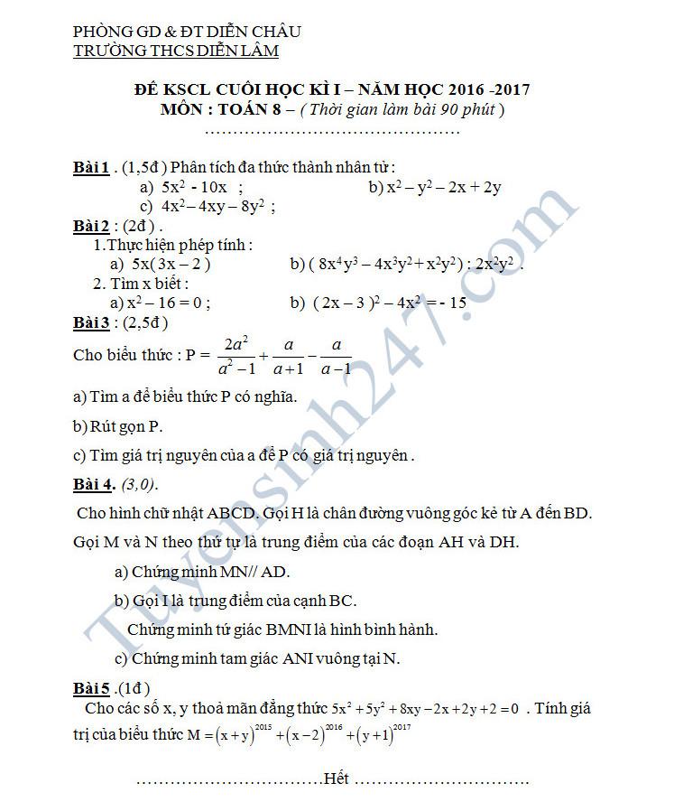 Đề thi học kì 1 môn Toán lớp 8 - THCS Diễn Lâm năm 2016-2017
