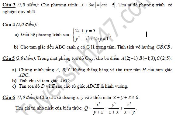 Đề thi học kì 1 lớp 10 môn Toán - THPT thị xã Quảng Trị 2016 - 2017