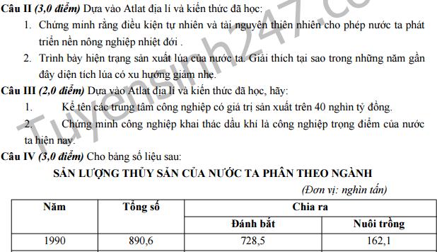 Đề thi giữa học kì 2 lớp 12 môn Địa - THPT Nguyễn Cảnh Chân 2016