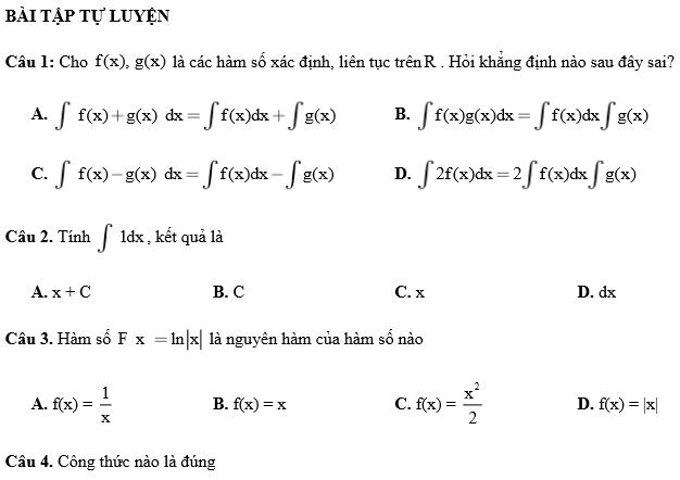 Trắc nghiệm nguyên hàm tích phân theo từng dạng (rất quan trọng)