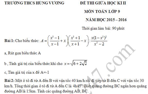 Đề thi giữa học kì 2 lớp 9 môn Toán - THCS Hùng Vương 2016