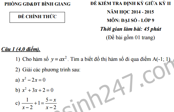 Đề thi giữa kì 2 lớp 9 môn Toán -  THCS Bình Giang 2016