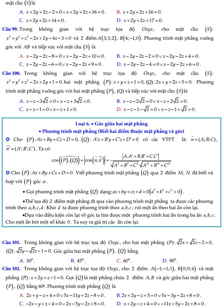 Các dạng bài tập trắc nghiệm hình giải tích trong không gian - có đáp án (hay)