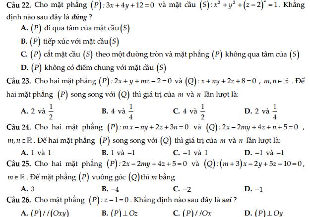 111 câu trắc nghiệm về hình học giải tích không gian Oxyz - Hứa Lâm Phong