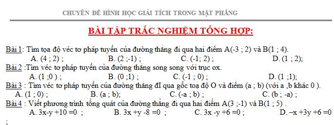 Bài tập trắc nghiệm tổng hợp - Phương pháp tọa độ trong mặt phẳng.