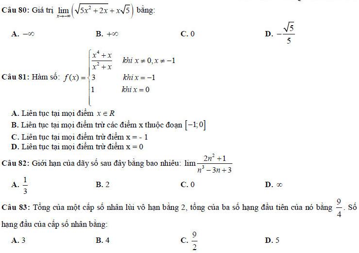 83 câu ôn tập chương giới hạn Toán lớp 11 ( có đáp án)