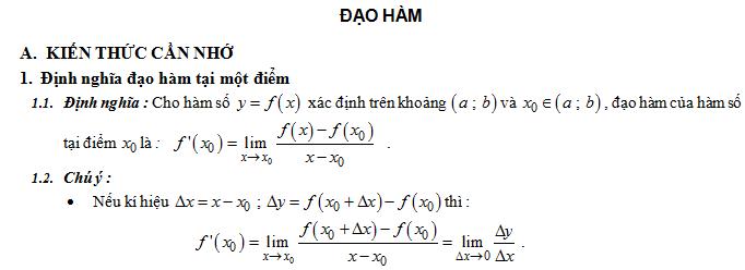Lý thuyết - Bài tập đạo hàm - Chi tiết, đầy đủ