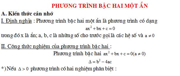 Lý thuyết - Phương pháp- Bài tập phương trình bậc hai một ẩn