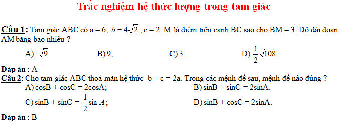 50 Câu trắc nghiệm hệ thức lượng trong tam giác (có đáp án)