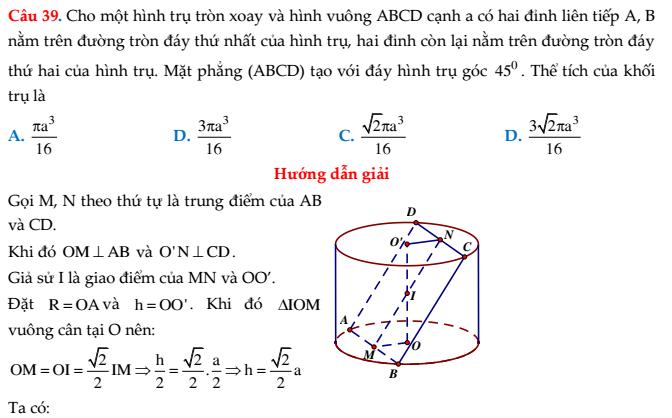 Tổng hợp Chuyên đề mặt nón - mặt trụ - mặt cầu - Trần Đình Cư (có lời giải chi tiết)