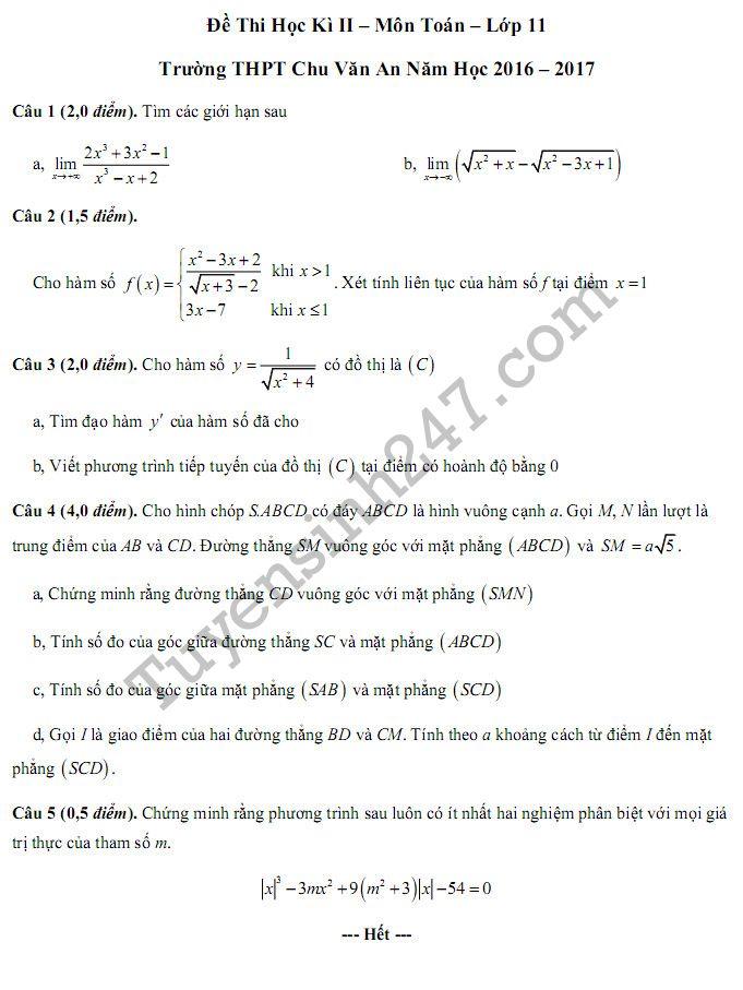 Đề thi học kì 2 lớp 11 môn Toán 2017 THPT Chu Văn An