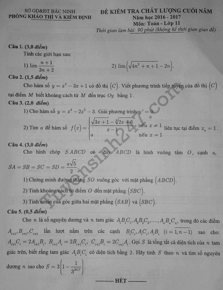 Đề thi học kì 2 môn Toán lớp 11 - Sở GD Bắc Ninh 2017 có đáp án