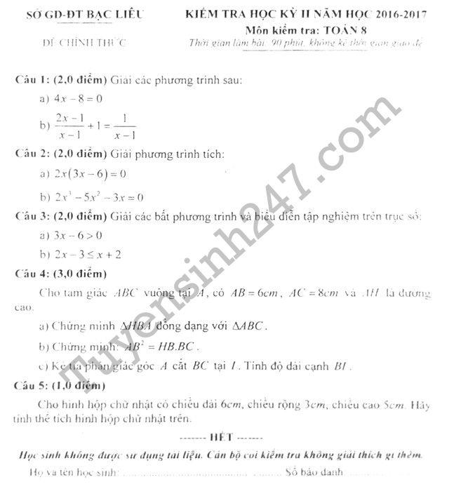 Đề thi học kì 2 môn Toán lớp 8 - Sở GD Bạc Liêu