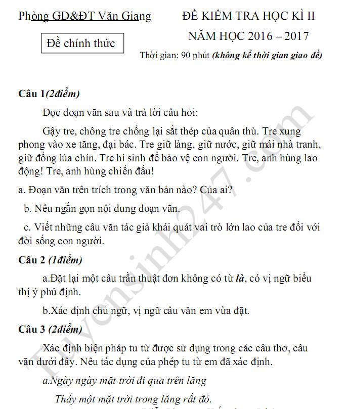 Đề thi học kì 2 môn Văn lớp 6 2017 - Văn Giang