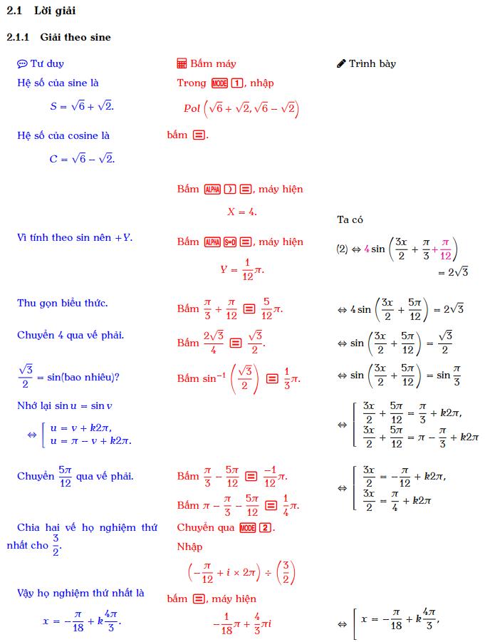 Hướng dẫn sử dụng máy tính cầm tay giải phương trình bậc nhất đối với sin và cos