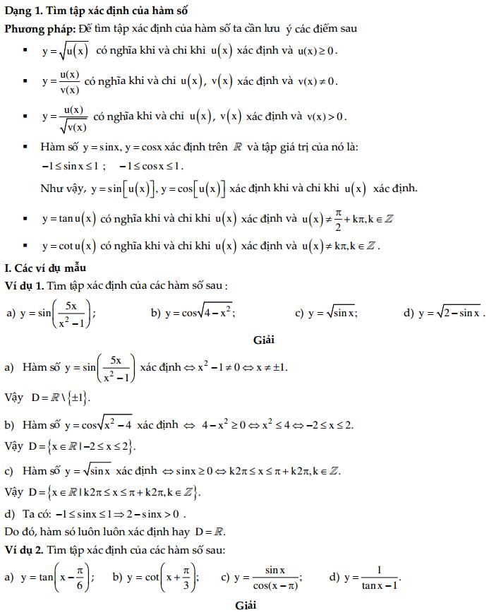 Tìm tập xác định của hàm số lượng giác ( có lời giải chi tiết)