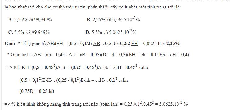 Vận dụng xác suất vào bài tập các quy luật di truyền