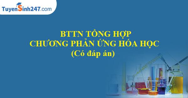 BTTN tổng hợp chương phản ứng hóa học (Có đáp án)