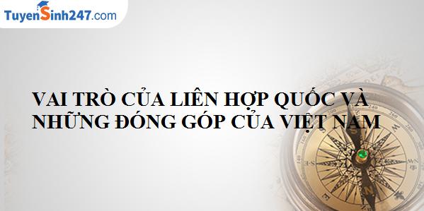 Vai trò của Liên hơp quốc và những đóng góp của Việt Nam