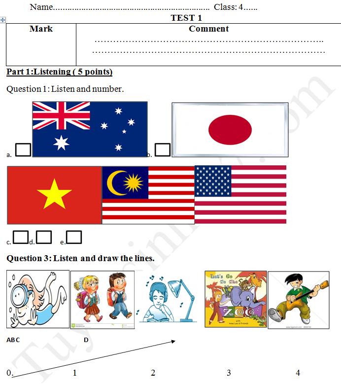 Đề thi giữa kì 1 lớp 4 môn tiếng Anh năm 2017 có đáp án