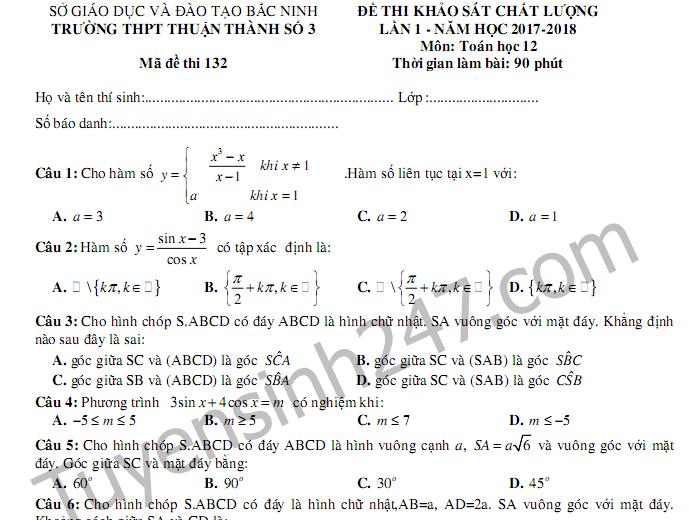 Đề thi giữa kì 1 lớp 12 môn Toán - THPT Thuận Thành 3 năm 2017