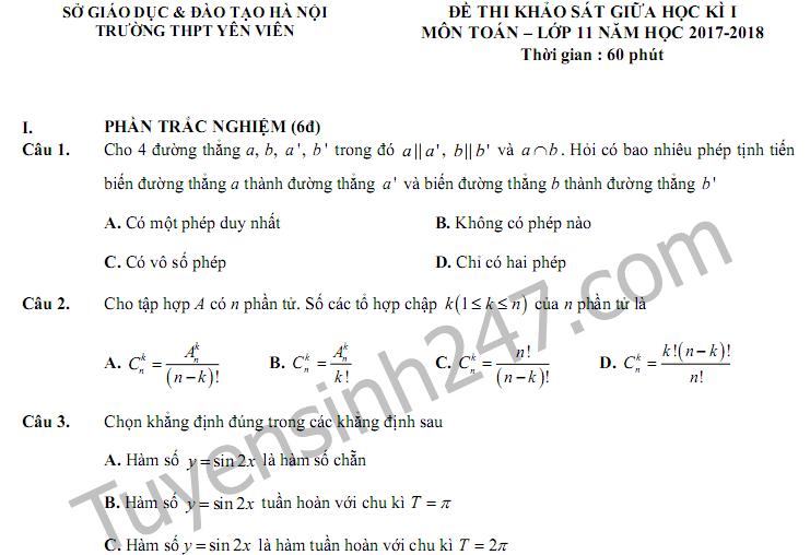 Đề kiểm tra giữa kì 1 môn Toán lớp 11 - THPT Yên Viên 2017
