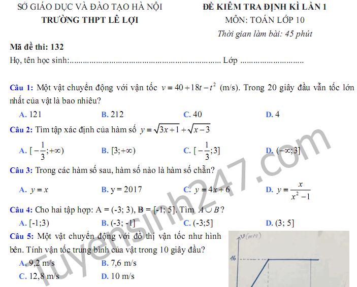Đề kiểm tra giữa kì 1 lớp 10 môn Toán - THPT Lê Lợi 2017