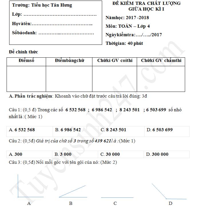 Đề thi giữa kì 1 môn Toán lớp 4 - TH Tân Hưng 2017 - 2018