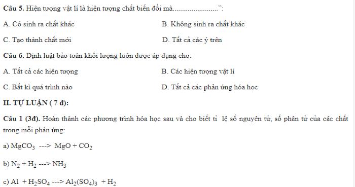 Đề kiểm tra 15 phút chương II: Phản ứng hóa học (3 đề - lời giải chi tiết)