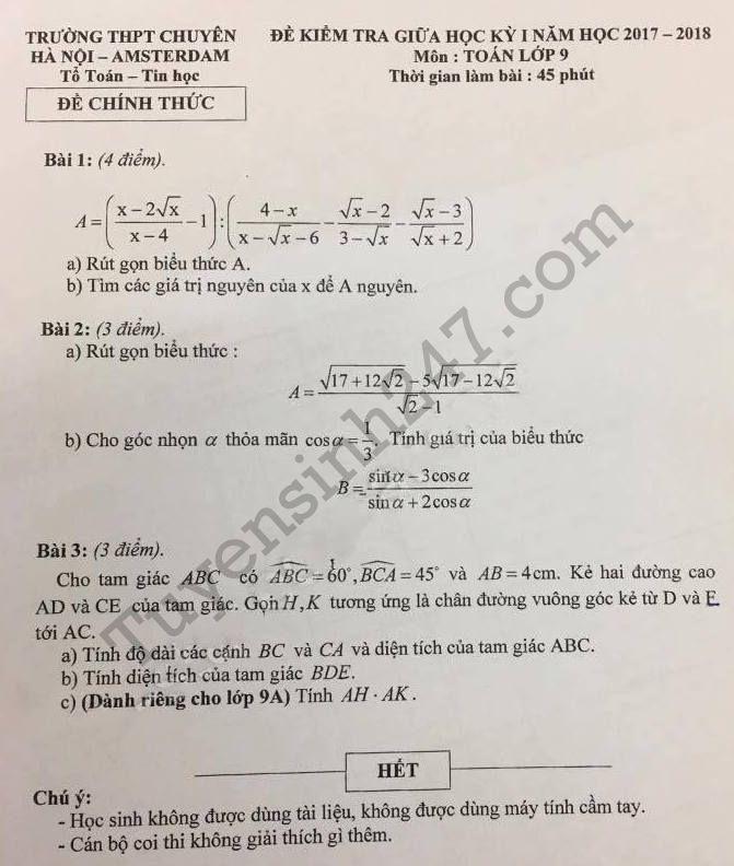 Đề thi giữa kì 1 môn Toán lớp 9  - Chuyên Hà Nội Amsterdam năm 2017