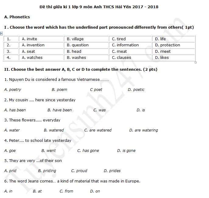 Đề thi giữa kì 1 môn Anh lớp 9 - THCS Hải Yến năm học 2017 - 2018