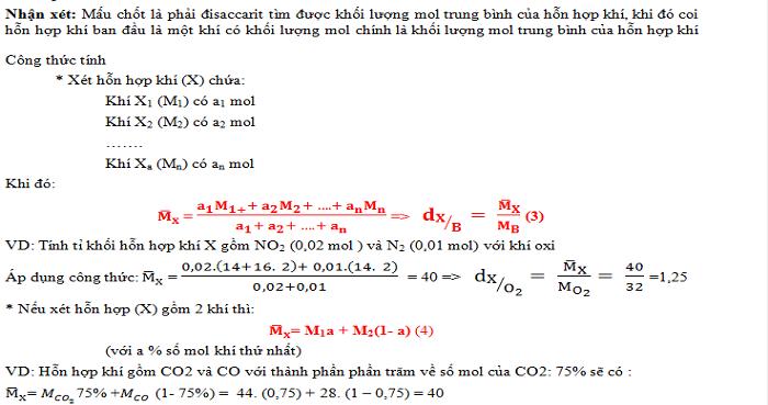 Bài tập về tỉ khối. Dạng 1. Tính tỉ khối