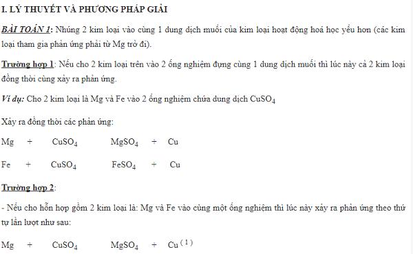 PP dùng mốc so sánh trong toán về kim loại