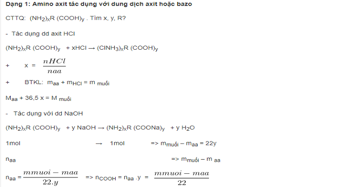 Phương pháp giải bài tập tính lưỡng tính của amino axit