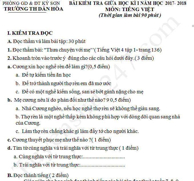 Đề thi giữa kì 1 môn Tiếng Việt lớp 4 - TH Dân Hòa năm 2017 - 2018