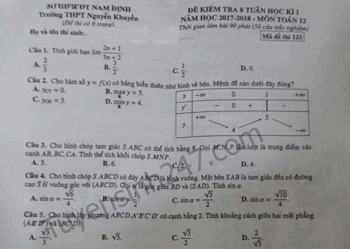 Đề kiểm tra giữa kì 1 lớp 12 môn Toán trường THPT Nguyễn Khuyến 2017