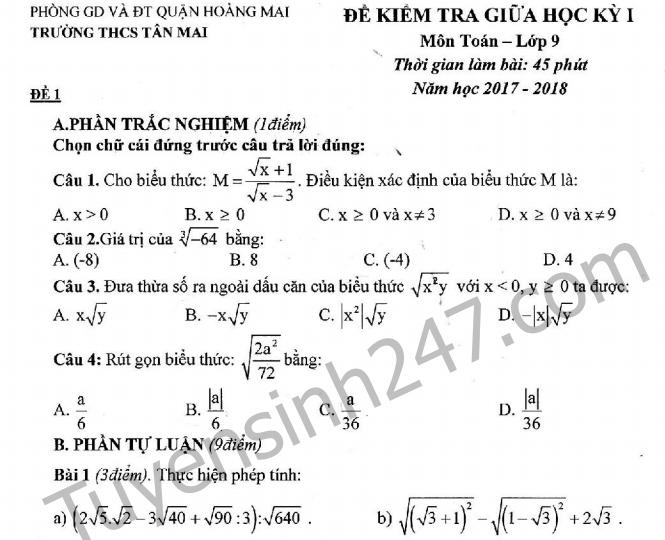 Đề thi giữa kì 1 môn Toán lớp 9  - THCS Tân Mai năm học 2017 - 2018