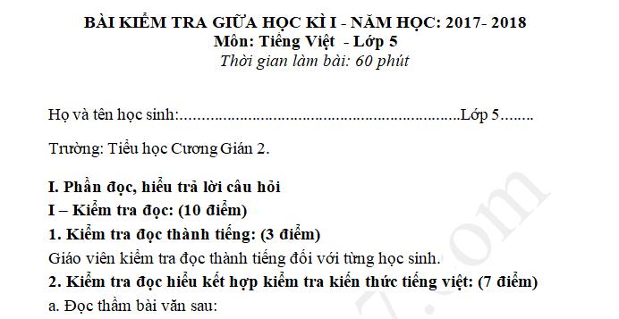 Đề kiểm tra giữa kì 1 năm 2017 môn Tiếng Việt lớp 5 - TH Cương Gián